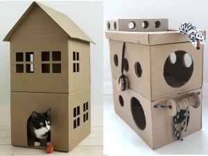 Домики для кошек из коробок